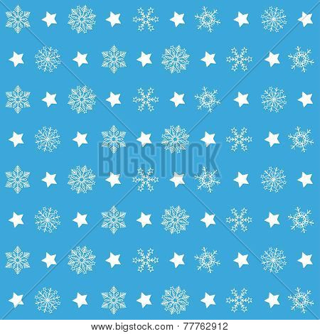 Blue Christmas Patterns Snowflakes