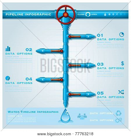 Water Pipe Business Infographic Timeline Design Template