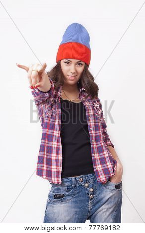 Cute Hipster Teenage Girl With Beanie Hat