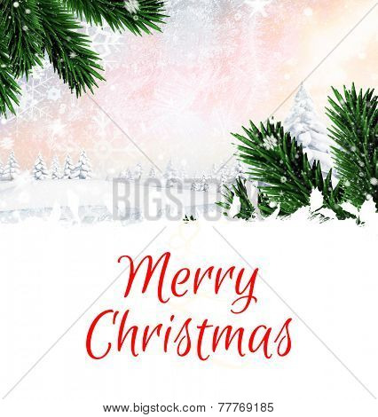 Composite image of christmas card against composite image of snow falling