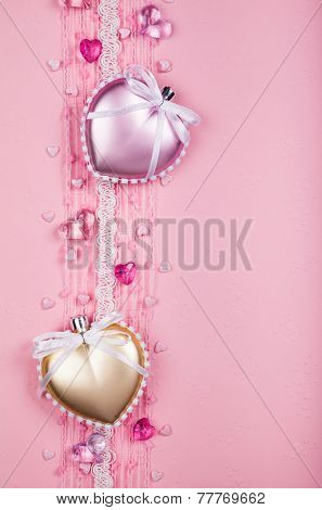 Valentine's day card  with  hearts and laces on pink background