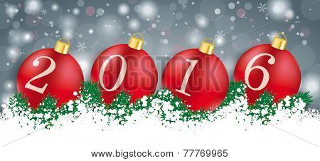 Long Grey Christmas Card Red Baubles 2016