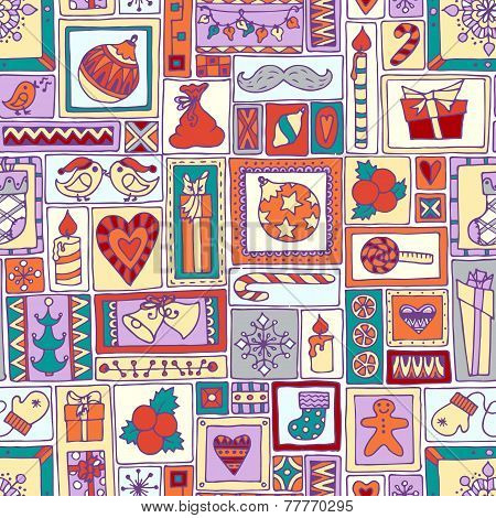 Colorful seamless Christmas and New Year pattern