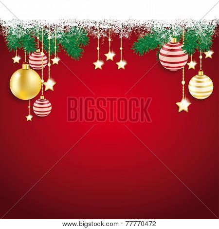Overhead Snowflakes Red Golden Baubles