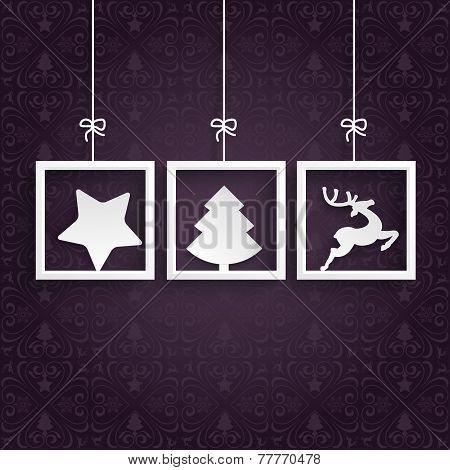 Purple Ornaments 3 Frames