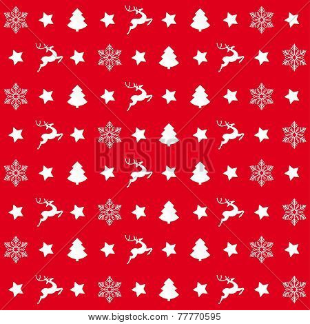 Red Christmas Patterns Rentier Tree Snowflake