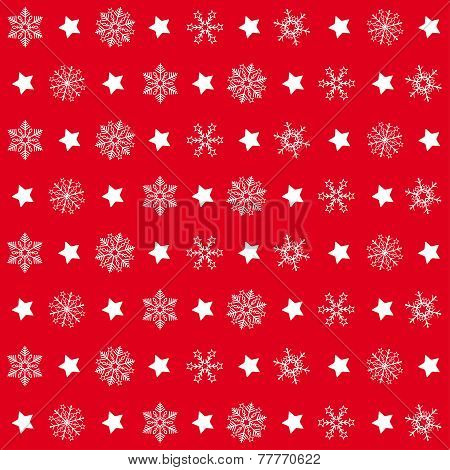 Red Christmas Patterns Snowflakes