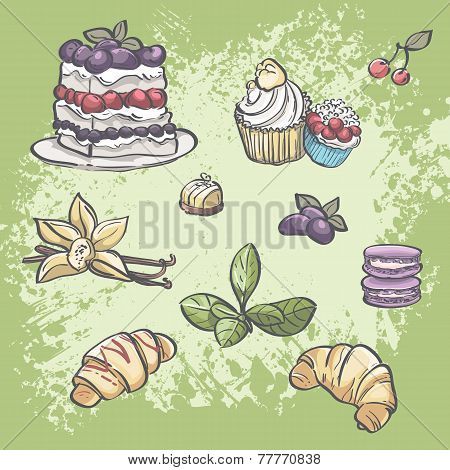 food croissants pie muffins fruit and tea leaves