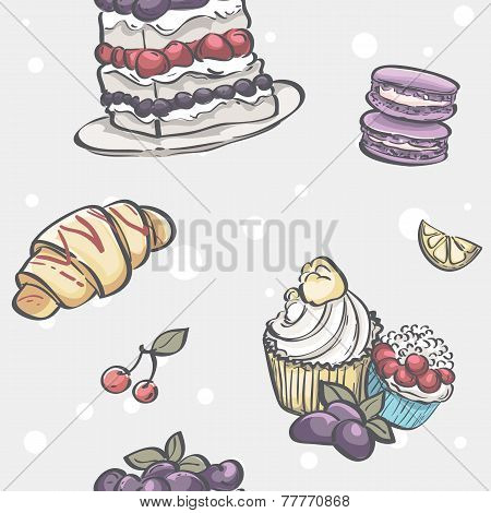 pie croissants muffins and fruit
