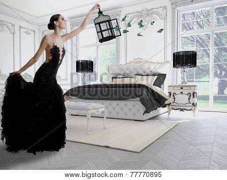 Beautiful girl in a classic room
