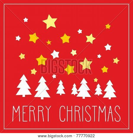 Christmas vector card or invitation for party with Merry Christmas wishes