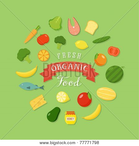 Fresh Organic Food Flat Style Icon Set
