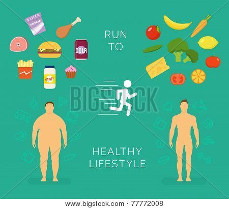 Running to Healthy Lifestyle Flat Vector Card or Infographic Elements