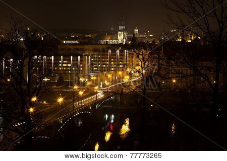 Night View Of Prague From The Top