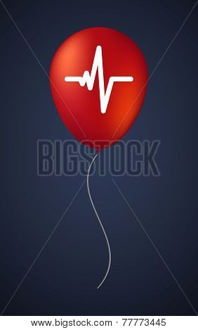 Vector Balloon Icon With A Heart Beat Sign