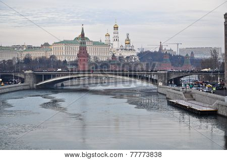 Moscow Kremlin From The Side Of Patriarchal Bridge.