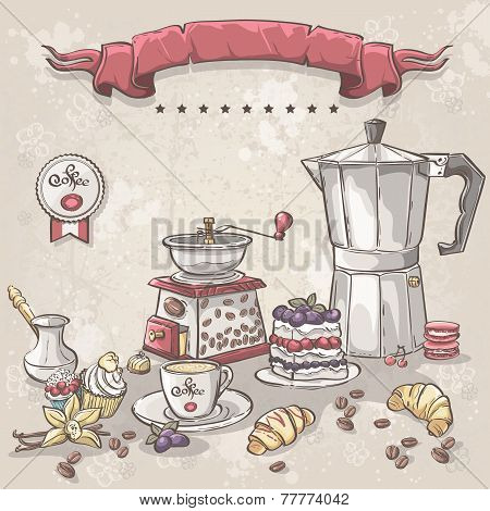 Turks cup coffee pot and a variety of sweets