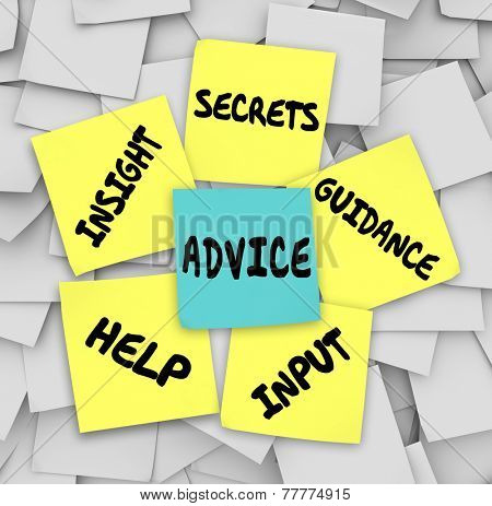 Advice words on sticky notes including insight, secrets, guidance, input and help to give you information on how to solve a challenge