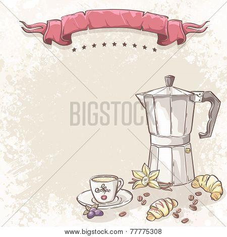 coffee, cup of coffee, croissants, blackberries and vanilla flower.