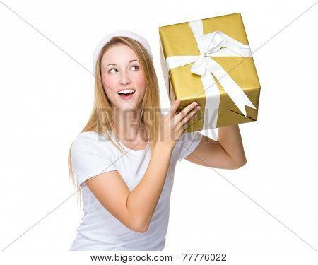 Xmas woman guess the present in box