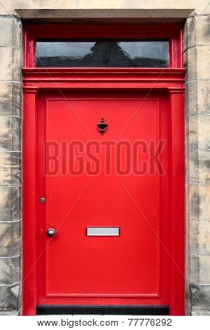 Red British House Door