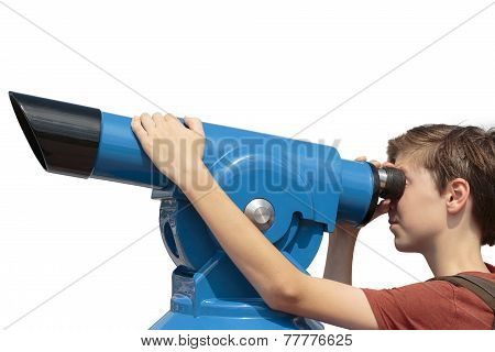 Teenage Boy Looking Through A Sightseeing Monocular, Isolated On White