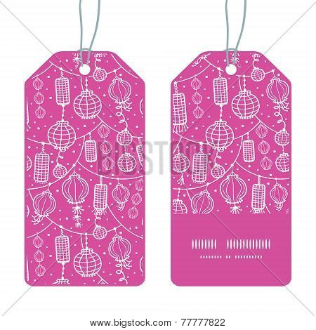 Vector holiday lanterns line art vertical stripe frame pattern tags set
