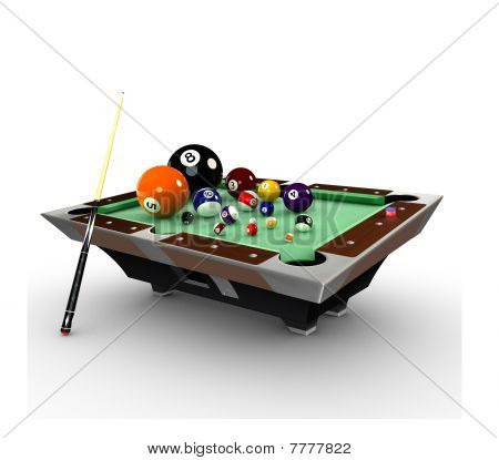 3d deformed Billiards pool table with balls,chalk and cue-stick