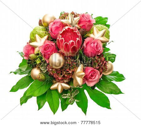Pink Roses With Golden Christmas Decoration