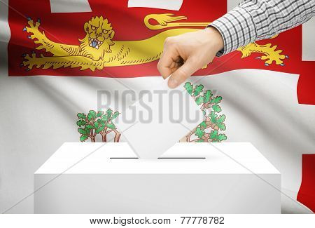 Voting Concept - Ballot Box With National Flag On Background - Prince Edward Island
