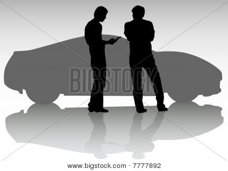 Sport car and people