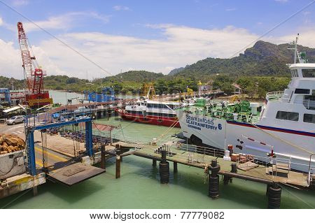 Passenger ferry port in Donsak in Surat Thani province, Thailand.