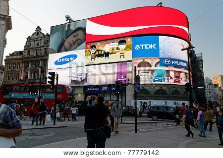 Famous Piccadilly Circus neon signage