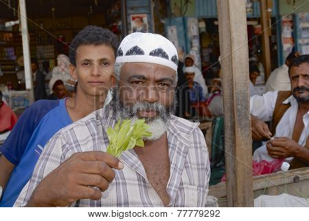 Unidentified man sells khat (Catha edulis) at the local market in Lahij, Yemen.