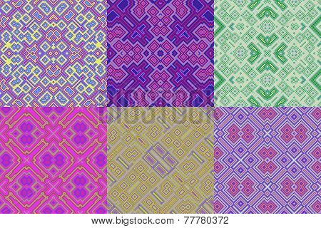 Set Of Cubic Floral Seamless Generated Textures