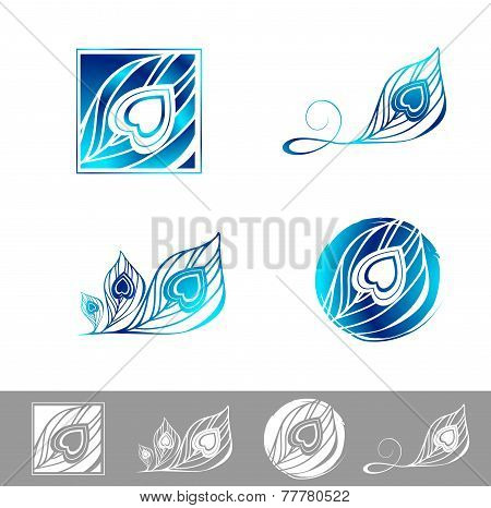 Peacock Feather Logo Design Set