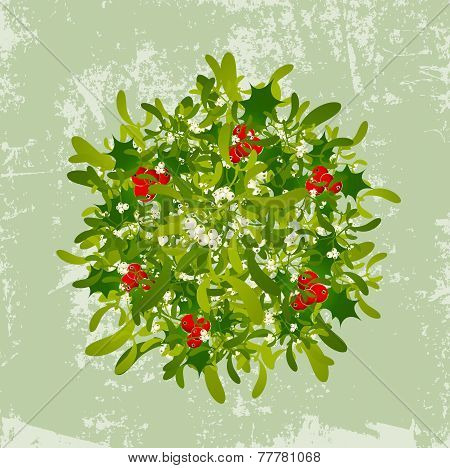 Mistletoe Vintage Background