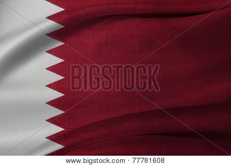 Closeup of silky Qatar flag