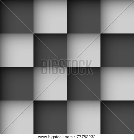 Seamless black and white checks wallpaper pattern with shadow effect.