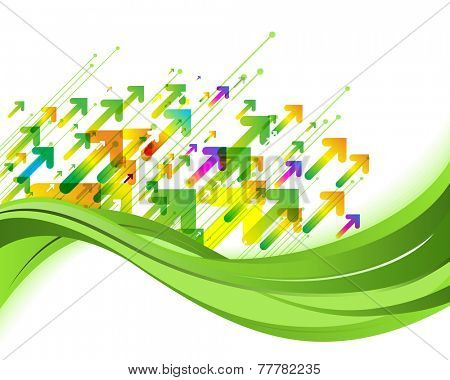 Green nature background. Eco concept illustration with arrows