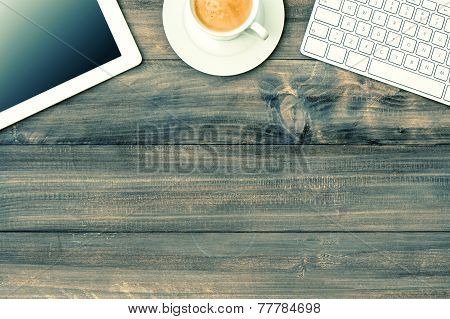 Digital Tablet Pc, Keyboard And Cup Of Coffee