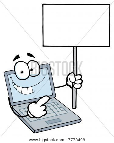 Laptop Guy Holding a Blank Sign