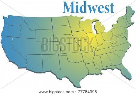 Sunny spotlight shines on midwest map of states in US Midwestern region