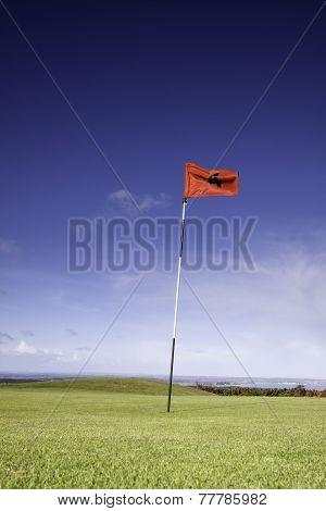 Close Up Of A Golf Flag And Green