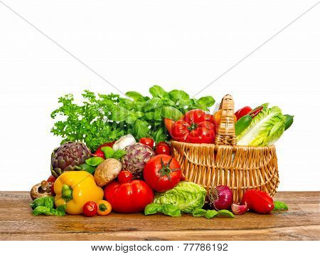 Fresh Vegetables And Herbs. Shopping Basket