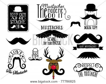 Mustaches - Set of black and white clip art images of various types of mustaches, with funny quotes and phrases