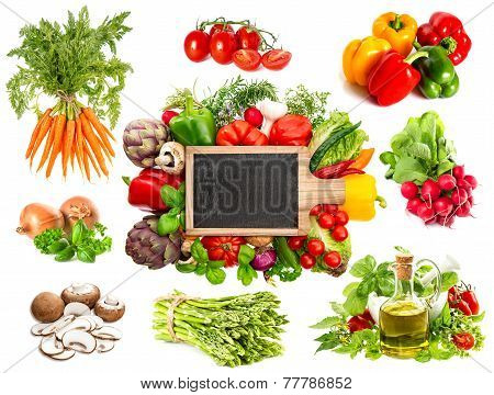 Vegetables And Herbs Isolated On White Background