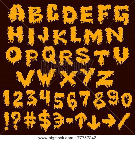 Yellow font smudges. alphabet splashing