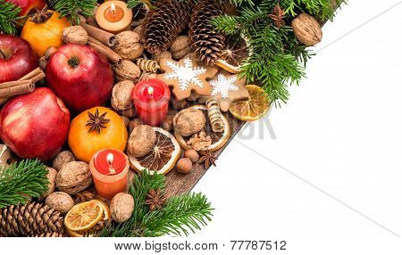 Apples, Candles, Tangerine Fruits, Walnuts, Cookies And Spices