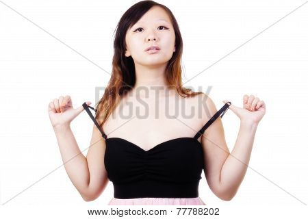 Chinese Woman Pulling On Straps Of Dress